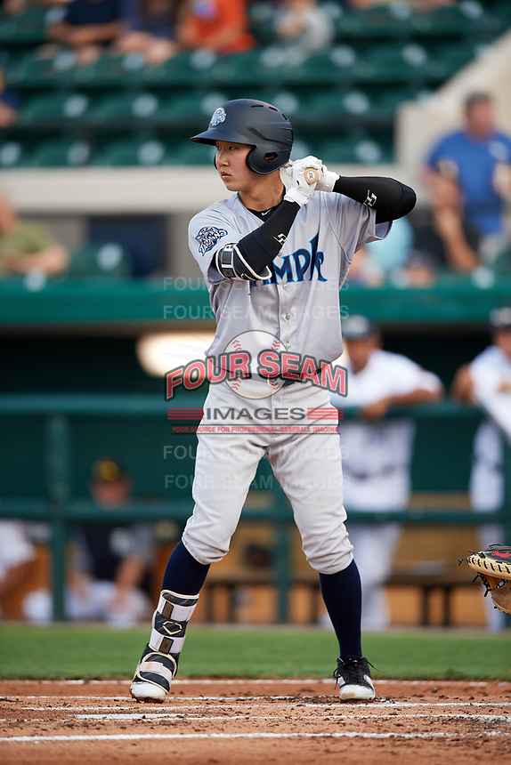 Tampa Tarpons second baseman Hoy Jun Park (1) at bat during a game against the Lakeland Flying Tigers on April 5, 2018 at Publix Field at Joker Marchant Stadium in Lakeland, Florida.  Tampa defeated Lakeland 4-2.  (Mike Janes/Four Seam Images)