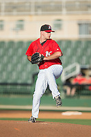 Kannapolis Intimidators relief pitcher Matt Cooper (32) in action against the Hickory Crawdads at CMC-Northeast Stadium on May 21, 2015 in Kannapolis, North Carolina.  The Intimidators defeated the Crawdads 2-0 in game one of a double-header.  (Brian Westerholt/Four Seam Images)