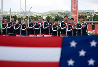 The US U-17 men's team stands while the national anthem is played before the first day of the group stage at the CONCACAF Men's Under 17 Championship at Catherine Hall Stadium in Montego Bay, Jamaica. The United States defeated Cuba, 3-1.