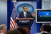 "United States President Barack Obama delivers remarks on the Trayvon Martin case during a surprise visit to the Brady Press Briefing Room at the White House in Washington, DC, USA, 19 July 2013. In his remarks the President said ""Trayvon Martin could have been me, 35 years ago,"" adding that ""it's important to recognize that the African American community is looking at this issue through a set of experiences and a history that doesn't go away.""<br /> Credit: Shawn Thew / Pool via CNP"