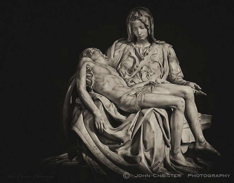 Michelangelo's Pieta from St. Peter's Basilica in Rome converted from it's original color image to a fine art black and white.