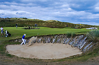 Alex Gleeson (Castle) plays out of a bunker on the 13th during the 1/4 Finals of the AIG Irish Close Championship at the European Club, Brittas Bay, Wicklow, Ireland on Monday 6th August 2018.<br /> Picture: Thos Caffrey / Golffile<br /> <br /> All photo usage must carry mandatory copyright credit (&copy; Golffile | Thos Caffrey)