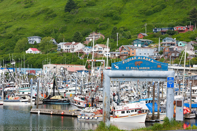 Boats docked at the boat harbor in downtown Kodiak, on the island of Kodiak, Alaska.