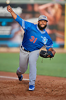 Oklahoma City Dodgers starting pitcher Daniel Corcino (31) throws before the game against the Salt Lake Bees at Smith's Ballpark on July 31, 2019 in Salt Lake City, Utah. The Dodgers defeated the Bees 5-3. (Stephen Smith/Four Seam Images)