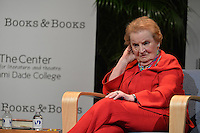 "MIAMI, FL - APRIL 30: Former Secretary of State Madeleine Albright discusses and signs her new book ""Prague Winter: A Personal Story of Remembrance and War, 1937-1948"" Presented By Books And Books at Miami College Wolfson campus auditorium on April 30, 2012 in Miami, Florida. Credit: MPI10/MediaPunch Inc."