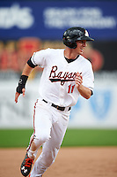 Bowie Baysox third baseman Drew Dosch (11) running the bases on a Glynn Davis (not shown) home run during the second game of a doubleheader against the Akron RubberDucks on June 5, 2016 at Prince George's Stadium in Bowie, Maryland.  Bowie defeated Akron 12-7.  (Mike Janes/Four Seam Images)