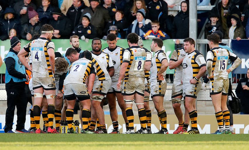 Photo: Richard Lane/Richard Lane Photography. Exeter Chiefs v Wasps. Anglo-Welsh Cup. 28/01/2017. Wasps players.