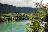 USA, Alaska, Coopers Landing, Kenai River, a drift boat floating down the Kenai River