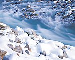 Snow and ice on river rocks in Index Creek at Index Washington USA