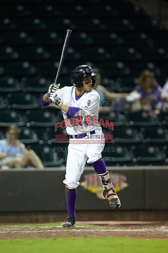 Laz Rivera (16) of the Winston-Salem Dash at bat against the Myrtle Beach Pelicans at BB&T Ballpark on August 6, 2018 in Winston-Salem, North Carolina. The Dash defeated the Pelicans 6-3. (Brian Westerholt/Four Seam Images)