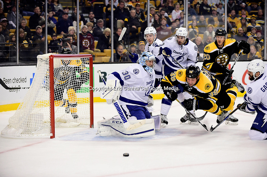 Sunday, November 27, 2016: Boston Bruins left wing Matt Beleskey (39) trips in front of Tampa Bay Lightning goalie Ben Bishop (30) as he goes for a rebound during the National Hockey League game between the Tampa Bay Lightning and the Boston Bruins held at TD Garden, in Boston, Mass. Eric Canha/CSM