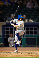 Midland RockHounds second baseman J.P. Sportman (25) at bat during a game against the Northwest Arkansas Naturals on May 27, 2017 at Arvest Ballpark in Springdale, Arkansas.  NW Arkansas defeated Midland 3-2.  (Mike Janes/Four Seam Images)