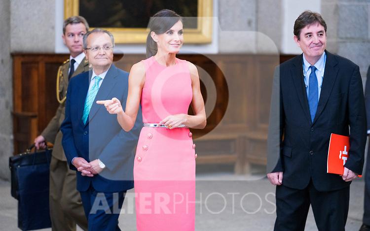 Queen Letizia of Spain during the meeting with Directors of Instituto Cervantes in Escorial Monastery.  July 23, 2019. (ALTERPHOTOS/Francis Gonzalez)