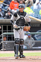 Rochester Red Wings catcher Drew Butera #11 during the opening game of the International League season against the Rochester Red Wings at Alliance Bank Stadium on April 5, 2012 in Syracuse, New York.  Rochester defeated Syracuse 7-4.  (Mike Janes/Four Seam Images)
