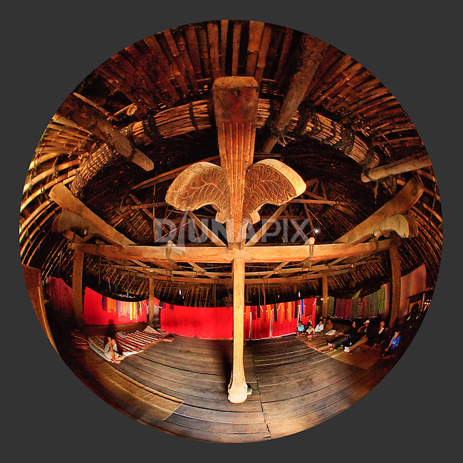 Fisheye view inside  traditional home, Todo, Flores