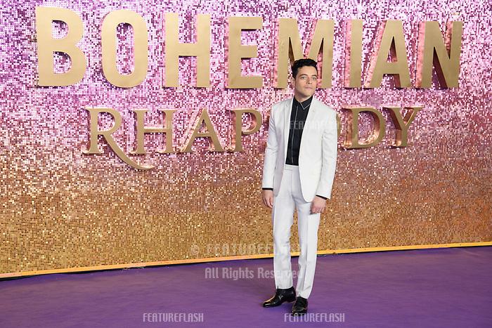 "LONDON, UK. October 23, 2018: Rami Malek at the world premiere of ""Bohemian Rhapsody"" at Wembley Arena, London.<br /> Picture: Steve Vas/Featureflash"