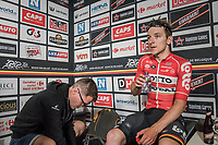 Jasper de Buyst (BEL/Lotto-Soudal) in the press tent after winning the race<br /> <br /> 10th Heistse Pijl 2017