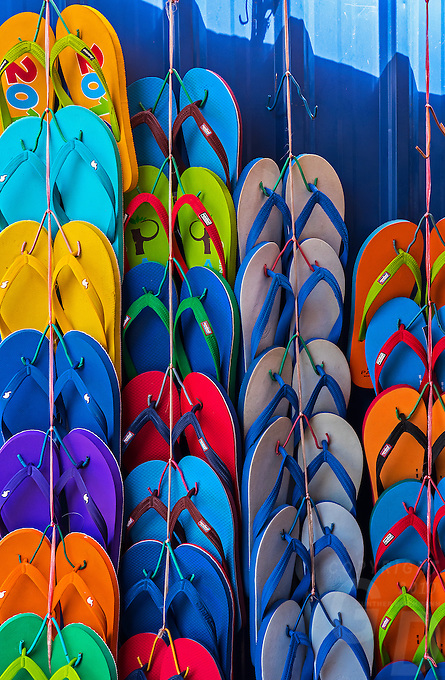 Colorful slippers in the street of Phnom Penh, Cambodia