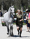 April 23, 2014: RF Smoke On The Water and Marilyn Little during the first horse inspection at the Rolex Three Day Event in Lexington, KY at the Kentucky Horse Park.  Candice Chavez/ESW/CSM