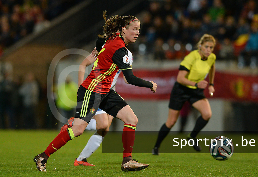 20160412 - LEUVEN ,  BELGIUM : Belgian Lenie Onzia pictured during the female soccer game between the Belgian Red Flames and Estonia , the fifth game in the qualification for the European Championship in The Netherlands 2017  , Tuesday 12 th April 2016 at Stadion Den Dreef  in Leuven , Belgium. PHOTO SPORTPIX.BE / DAVID CATRY