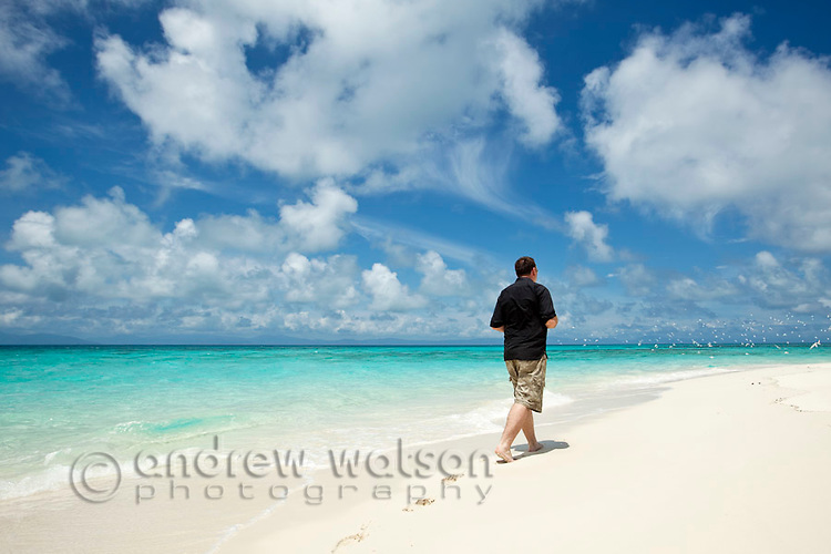 Man walking along shore of Vlassof Cay - a remote sand cay near Cairns.  Great Barrier Reef Marine Park, Queensland, Australia