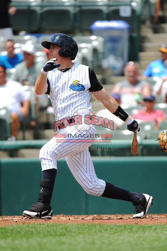 Trenton Thunder infielder Carmen Angelini (10) during game against the Reading Fightin Phils at ARM & HAMMER Park on July 8, 2013 in Trenton, NJ.  Trenton defeated Reading 10-6.  (Tomasso DeRosa/Four Seam Images)