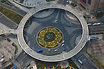 The Lujiazui Traffic Circle, with an elevated pedestrian promenade, Shanghai, China