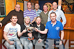 Mary Carmel O'Connor and Sarah Landers pictured as they presented the Mike Landers cup to James Doherty and John Herlihy who won the competition in Murphys Bar Killarney on Tuesday night. Also pictured are Roland Suther, Matt Lacey, runner up, Dermot Kelliher, Kevin McCann, runner up and Sean Murphy.