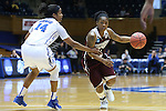 22 March 2015: Mississippi State's Jerica James (21) and Duke's Ka'lia Johnson (14). The Duke University Blue Devils hosted the Mississippi State University Bulldogs at Cameron Indoor Stadium in Durham, North Carolina in a 2014-15 NCAA Division I Women's Basketball Tournament second round game. Duke won the game 64-56.