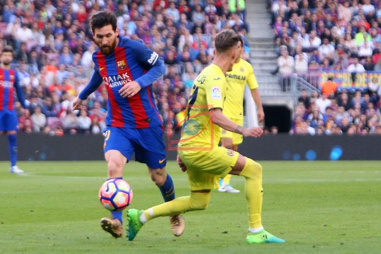 League Santander 2016/2017. Game: 36.<br /> FC Barcelona vs Villarreal CF: 4-1.<br /> Lionel Messi vs Samu Castillejo.