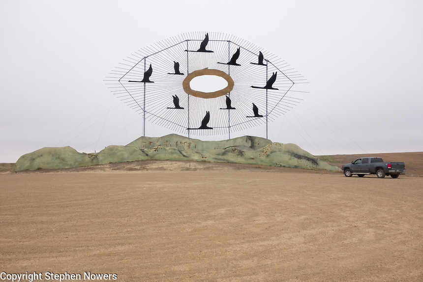 """Geese in Flight,"" one of the metal sculptures on the Enchanted Highway in western North Dakota."