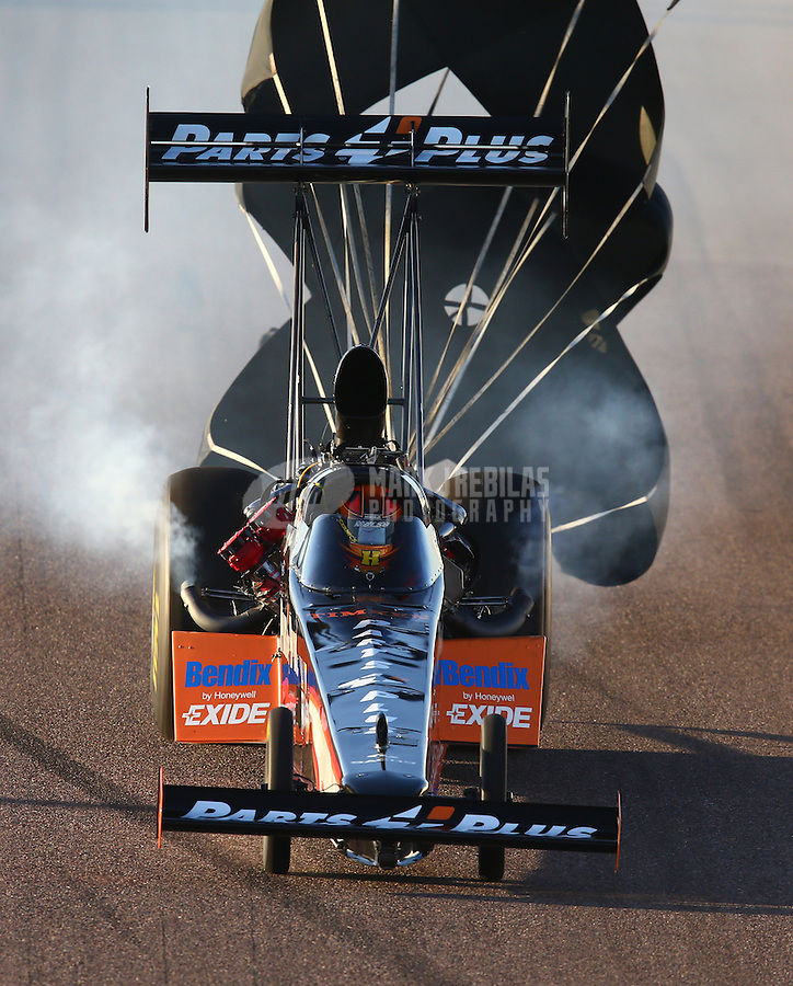 Feb 21, 2014; Chandler, AZ, USA; NHRA top fuel dragster driver Clay Millican during qualifying for the Carquest Auto Parts Nationals at Wild Horse Pass Motorsports Park. Mandatory Credit: Mark J. Rebilas-USA TODAY Sports