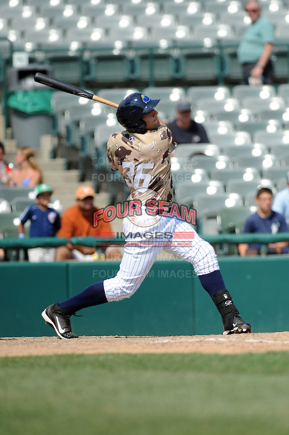Trenton Thunder outfielder Rob Segedin (36) during game against the Altoona Curve at Samuel L. Plumeri Sr. Field at Mercer County Waterfront Park on August 22, 2012 in Trenton, NJ.  Altoona defeated Trenton 14-2.  Tomasso DeRosa/Four Seam Images
