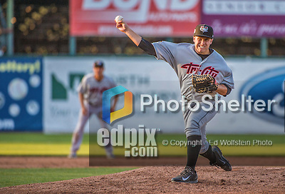 1 September 2014: Tri-City ValleyCats pitcher Aaron Vaughn on the mound against the Vermont Lake Monsters at Centennial Field in Burlington, Vermont. The ValleyCats defeated the Lake Monsters 3-2 in NY Penn League action. Mandatory Credit: Ed Wolfstein Photo *** RAW Image File Available ****