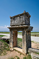 Picture of a Roman raised sarcophagus of the North Necropolis. Hierapolis archaeological site near Pamukkale in Turkey.