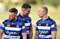 Adam Hastings and Will Homer of Bath United have a word prior to the match. Remembrance Rugby match, between Bath United and the UK Armed Forces on May 10, 2017 at the Recreation Ground in Bath, England. Photo by: Patrick Khachfe / Onside Images