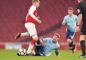 16/04/2018 Arsenal v Blackpool FAYC Semi 2L<br /> <br /> Dylan Sumner challenges Emile Smith Rowe