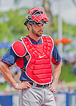 8 March 2015: Boston Red Sox catcher Blake Swihart prepares for a Spring Training game against the New York Mets at Tradition Field in Port St. Lucie, Florida. The Mets fell to the Red Sox 6-3 in Grapefruit League play. Mandatory Credit: Ed Wolfstein Photo *** RAW (NEF) Image File Available ***