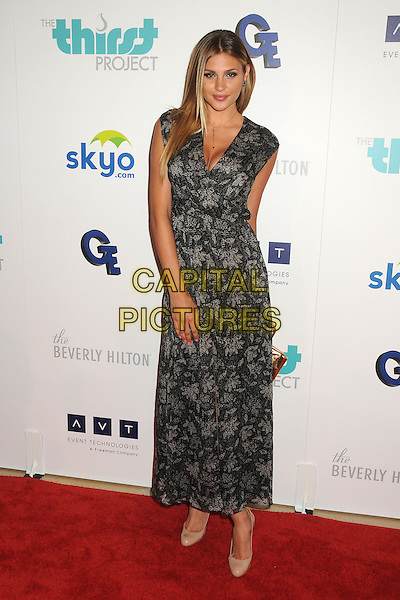 Natalie Pack<br /> 4th Annual Thirst Gala held at the Beverly Hilton Hotel, Beverly Hills, California, USA.<br /> June 25th, 2013<br /> full length black grey gray brocade floral print dress <br /> CAP/ADM/BP<br /> &copy;Byron Purvis/AdMedia/Capital Pictures