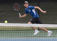 NWA Democrat-Gazette/J.T. WAMPLER Rogers High School's Jack Vaughn chases the ball Wednesday Oct. 5, 2016 at the 7A-West Tennis Tournament in Bentonville.