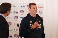 SYDNEY, AUSTRALIA - August 23, 2016:  Cal Bears Football team Australia trip.  Davis Webb addresses the media during the Sydney Cup press conference.