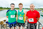 Darren McSweeney (Kanturk), Colm Lyons (Castleisland) and George McSweeney (Kanturk) at the Tralee Harriers Rose of Tralee 10k in the Tralee Wetlands on Sunday.