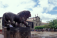 The main plaza or Parque Central in the Spanish colonial city of Leon, Nicaragua