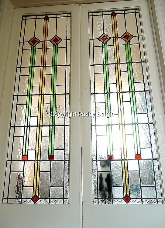 Beautiful Art Deco Glass Doors And A Cat Paddy Bergin Stock Photos