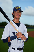 GCL Rays Shane Sasaki (8) poses for a photo after a Gulf Coast League game against the GCL Pirates on August 7, 2019 at Charlotte Sports Park in Port Charlotte, Florida.  GCL Rays defeated the GCL Pirates 4-1 in the first game of a doubleheader.  (Mike Janes/Four Seam Images)