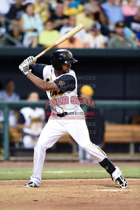Jacksonville Suns outfielder Isaac Galloway (23) at bat during game three of the Southern League Championship Series against the Chattanooga Lookouts on September 12, 2014 at Bragan Field in Jacksonville, Florida.  Jacksonville defeated Chattanooga 6-1 to sweep three games to none.  (Mike Janes/Four Seam Images)