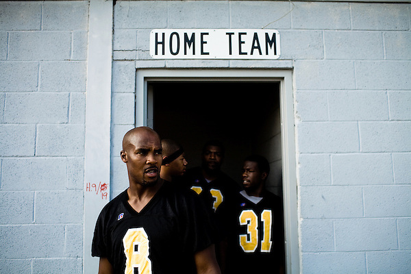 July 26, 2008. Durham, NC.. Local semi-pro football team, the Triangle Rattlers, played the Rowan Rampage in the opening game of the 2008 semi-pro season.. The players are unpaid and the league continues to struggle with financial issues, but many o the players see this as their last shot at a career in football.. Owner and quarterback, Barry Marrow.