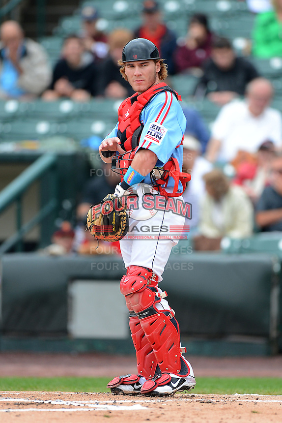 Rochester Red Wings catcher Chris Herrmann #18 during a game against the Gwinnett Braves on June 16, 2013 at Frontier Field in Rochester, New York.  Rochester defeated Gwinnett 6-3.  (Mike Janes/Four Seam Images)