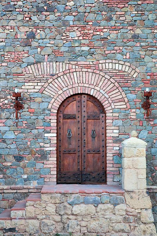Outside door of castle. Castello di Amerorosa. Napa Valley, California. Property relased