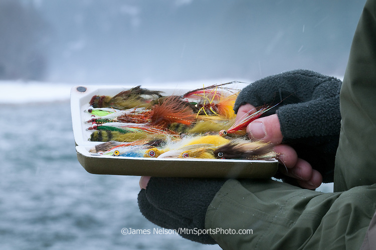 An angler chooses a streamer from his fly box during a winter day of trout fishing on the South Fork of the Snake River, Idaho.